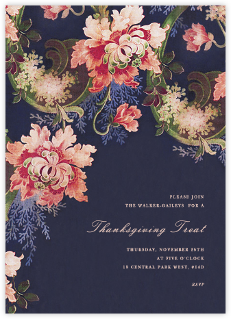 Rose Floral Ikat I - Navy - Oscar de la Renta - Thanksgiving invitations