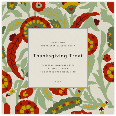 Spanish Garden - Red Plum - Oscar de la Renta - Thanksgiving invitations