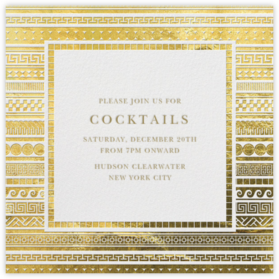 It's Greek - Gold - Jonathan Adler - Holiday invitations