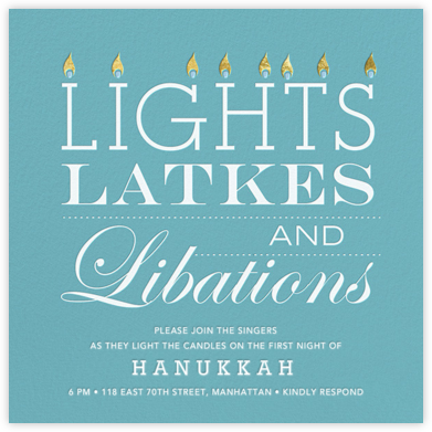 Lights, Latkes, and Libations - Jonathan Adler - Hanukkah Invitations