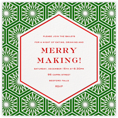 Positano - Red/Green - Jonathan Adler - Holiday party invitations