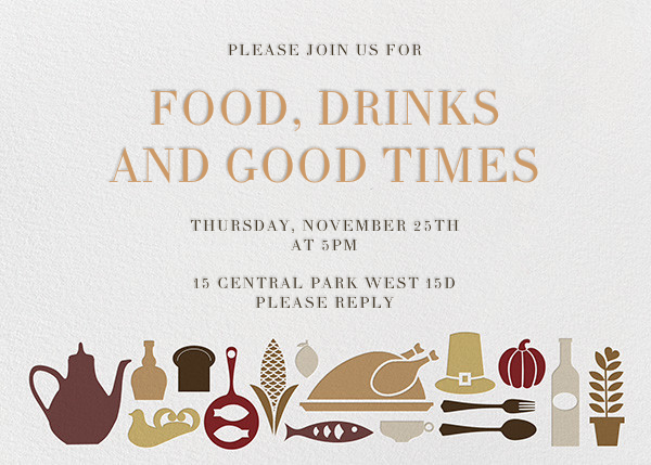Turkey at the Table - Jonathan Adler - Thanksgiving invitations