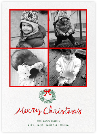 Merry Christmas Wreath (Multi-Photo) - White - Linda and Harriett -