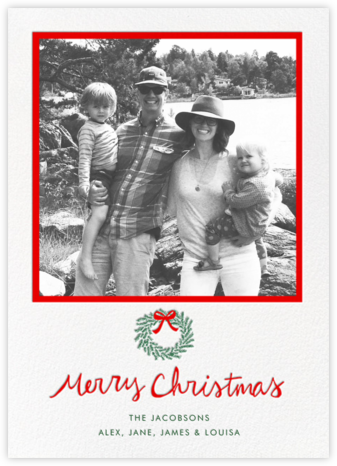 Merry Christmas Wreath (Tall) - White - Linda and Harriett - Photo Christmas cards