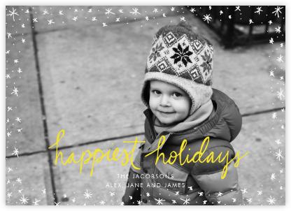 Holiday Wink (Horizontal) - Yellow - Linda and Harriett - Holiday Cards