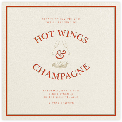 Hot Wings and Champagne - Derek Blasberg - Sporting Event Invitations