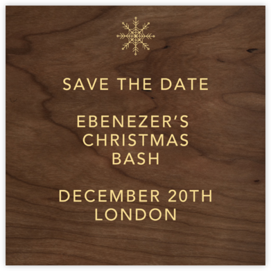 Wood Grain Dark - Square - Paperless Post - Holiday Save the Dates