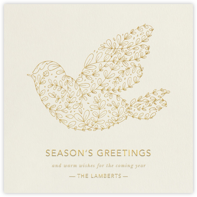 Vine Dove - Cream - Paperless Post - Holiday Cards