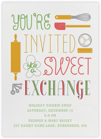 Sweet Exchange - Crate & Barrel - Cookie Swap Invitations
