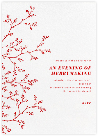 Winter Berries - White - Paperless Post - Invitations