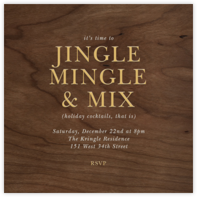 Wood Grain Dark - Square - Paperless Post - Holiday invitations