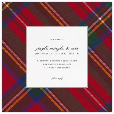 Tartan (Square) - Carnation - Oscar de la Renta - Winter Party Invitations