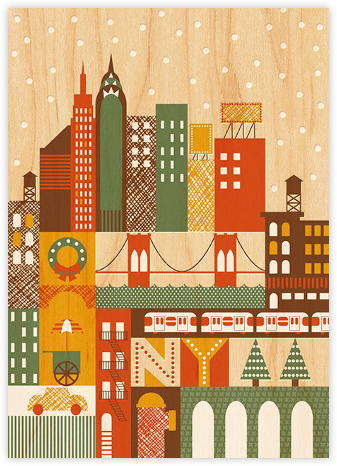 Snowy New York - Petit Collage - Holiday Cards