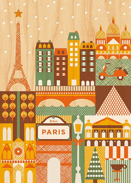 Snowy Paris - Petit Collage -