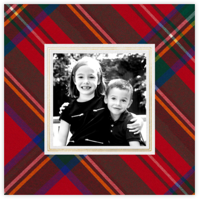 Tartan (Square Photo) - Carnation/Gold - Oscar de la Renta - Holiday Cards