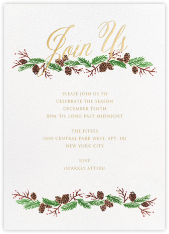 Pine Soiree - Gold - Paper + Cup - Winter Party Invitations