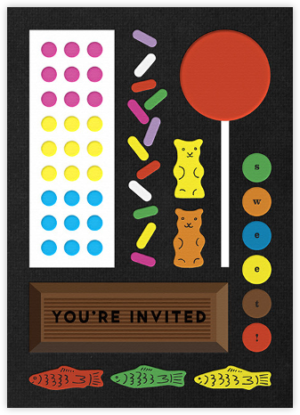 Candy Party - Black - The Indigo Bunting - Online Kids' Birthday Invitations