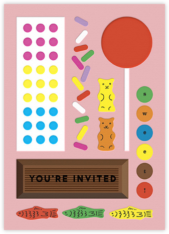 Candy Party - Pink - The Indigo Bunting - Online Kids' Birthday Invitations