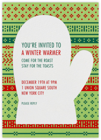 Knit Mitten - Paperless Post - Holiday invitations