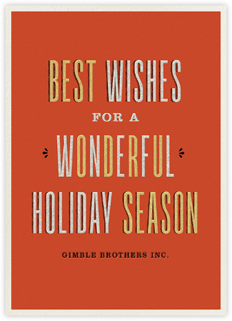 Wonderful Holiday - Metallics - Paperless Post - Business holiday cards