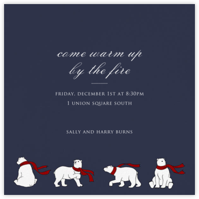 Four Bears with Scarves - Paperless Post - Winter Party Invitations