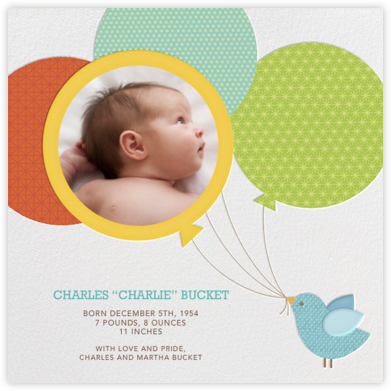 Bird Balloon - Yellow - Petit Collage - Birth Announcements