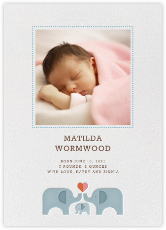 Elephant Love - Petit Collage - Birth Announcements