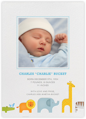 Safari Line - Petit Collage - Birth Announcements