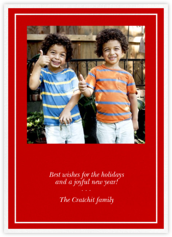Double Border Square Photo - Red - Paperless Post - Holiday Cards