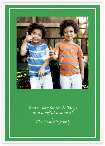 Double Border Square Photo - Emerald - Paperless Post - Holiday Cards
