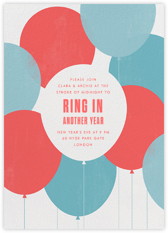 Party Balloons - Red Blue - Paperless Post - New Year's Eve Invitations