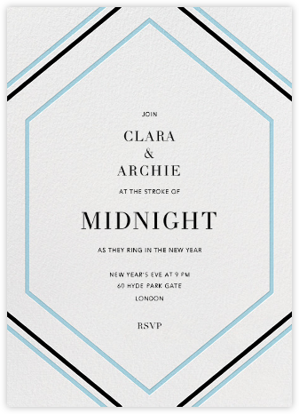 Deco Hex Frame - Blue - Paperless Post - New Year's Eve Invitations