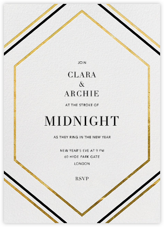 Deco Hex Frame - Gold - Paperless Post - New Year's Eve Invitations