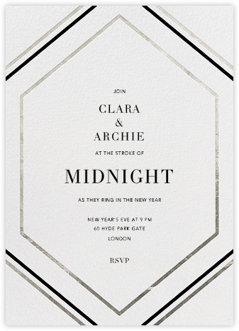 Deco Hex Frame - Silver - Paperless Post - New Year's Eve Invitations