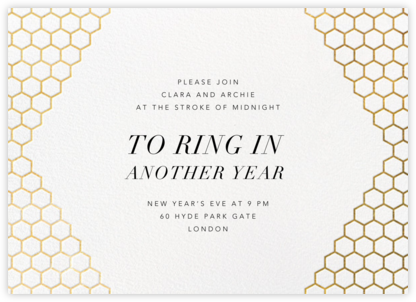 Honeycomb Party - Gold - Paperless Post - New Year's Eve Invitations