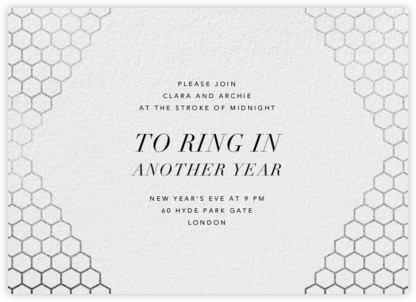 Honeycomb Party - Silver - Paperless Post - New Year's Eve Invitations