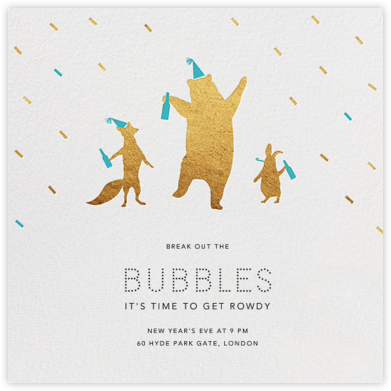 Party Animals - Gold Robin - Paperless Post - New Year's Eve Invitations