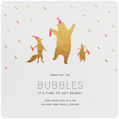 Party Animals - Gold Coral - Paperless Post - New Year's Eve Invitations