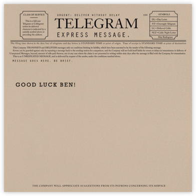Telegram - Good luck - Paperless Post - Good Luck Cards