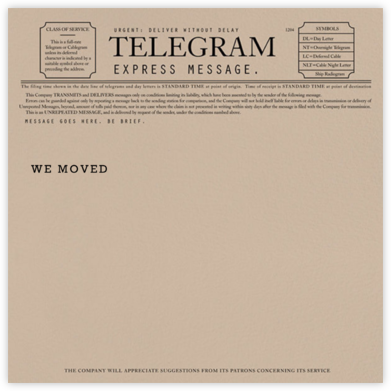 Telegram - Announcement - Paperless Post - Moving Announcements