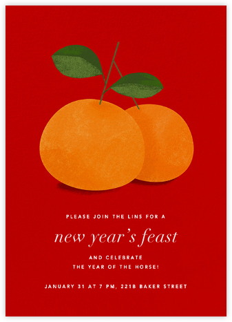 Lucky Clementines - Red - Paperless Post - Lunar New Year Invitations