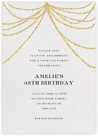 String of Lights - Mr. Boddington's Studio - Adult Birthday Invitations