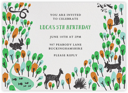 Forest Birthday - Green - Mr. Boddington's Studio - Online Kids' Birthday Invitations