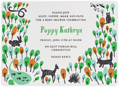 Forest Birthday - Green - Mr. Boddington's Studio - Woodland Baby Shower Invitations