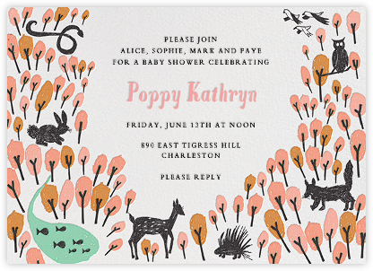 Forest Birthday - Pink - Mr. Boddington's Studio - Baby shower invitations