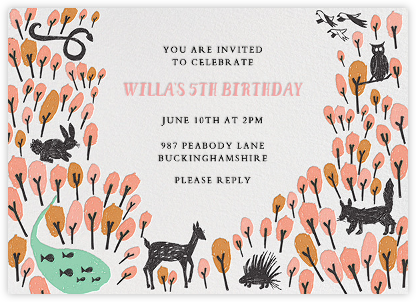 Forest Birthday - Pink - Mr. Boddington's Studio - Online Kids' Birthday Invitations