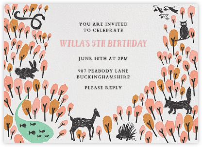 Forest Birthday - Pink - Mr. Boddington's Studio - Birthday invitations