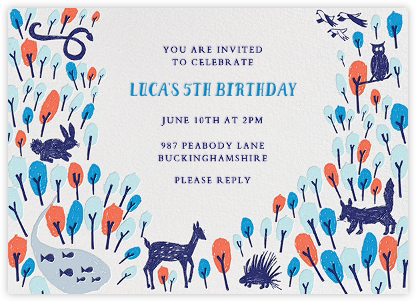 Forest Birthday - Blue - Mr. Boddington's Studio - Online Kids' Birthday Invitations