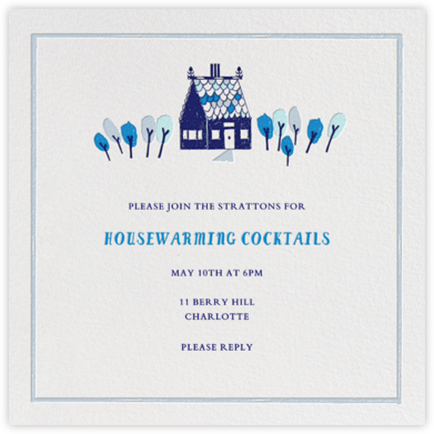 Over the River and Through the Woods - Blue - Mr. Boddington's Studio - Housewarming Party Invitations
