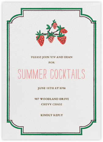 Pint of Strawberries - Mr. Boddington's Studio - Summer Party Invitations